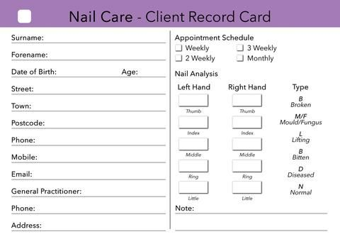Nail Care Client Card \/ Client Record Card \/ Treatment - sample appointment card template