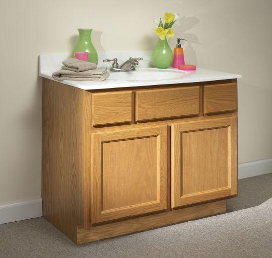 Harmony Kountry Oak Kitchen Cabinets In Bathroom Countertops