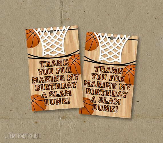Basketball Birthday Party Thank You Favor Tags