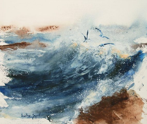 Original Watercolor Of Seagulls In The Waves Original Painting Of