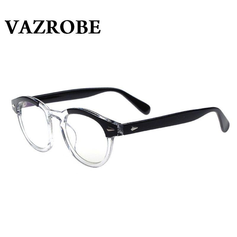 96d3f0800a Vazrobe Small Eyeglasse Frame Men Women johnny depp Glasses Vision Sight  eyeglasses Optical Clear Lens (