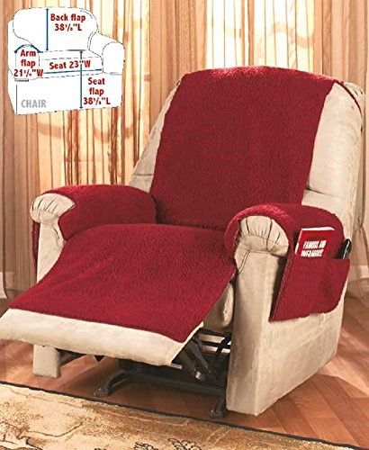 Recliner Chair Cover One Piece W Armrests And Pockets Size Fits Most Red