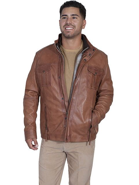 57aa6e2ef NWT Scully Men's Saddle Tan Genuine Leather Jacket With Removable ...