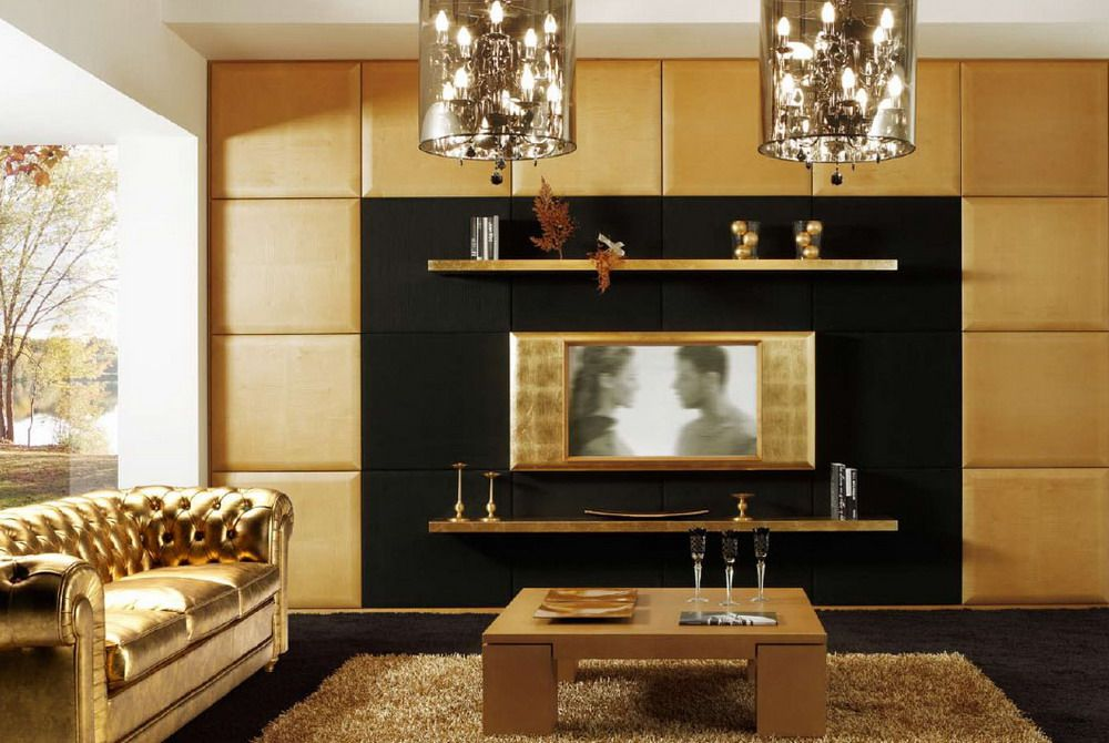 gold colored modern living room design with unique lamp and