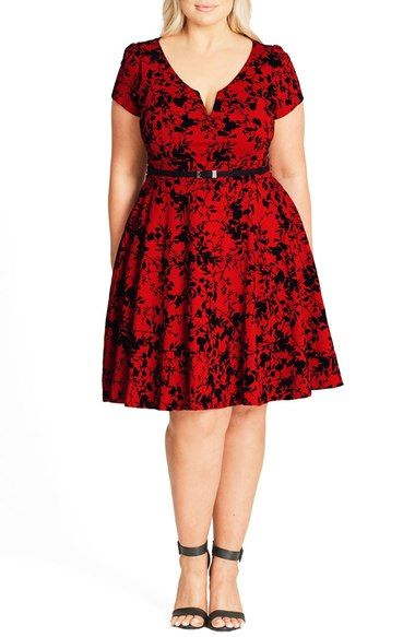 plus size women's city chic rose beauty belted fit & flare dress