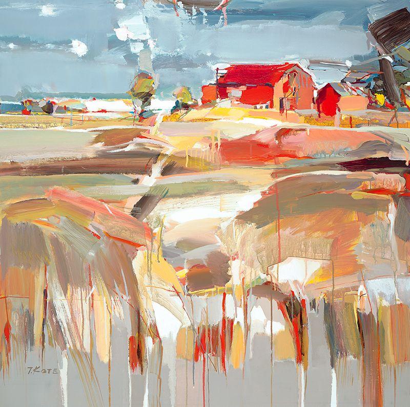 Red Rustic Barn by Josef Kote