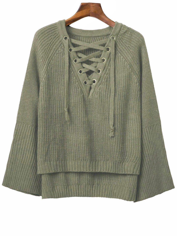 Lace Up V Neck Long Sleeve Sweater