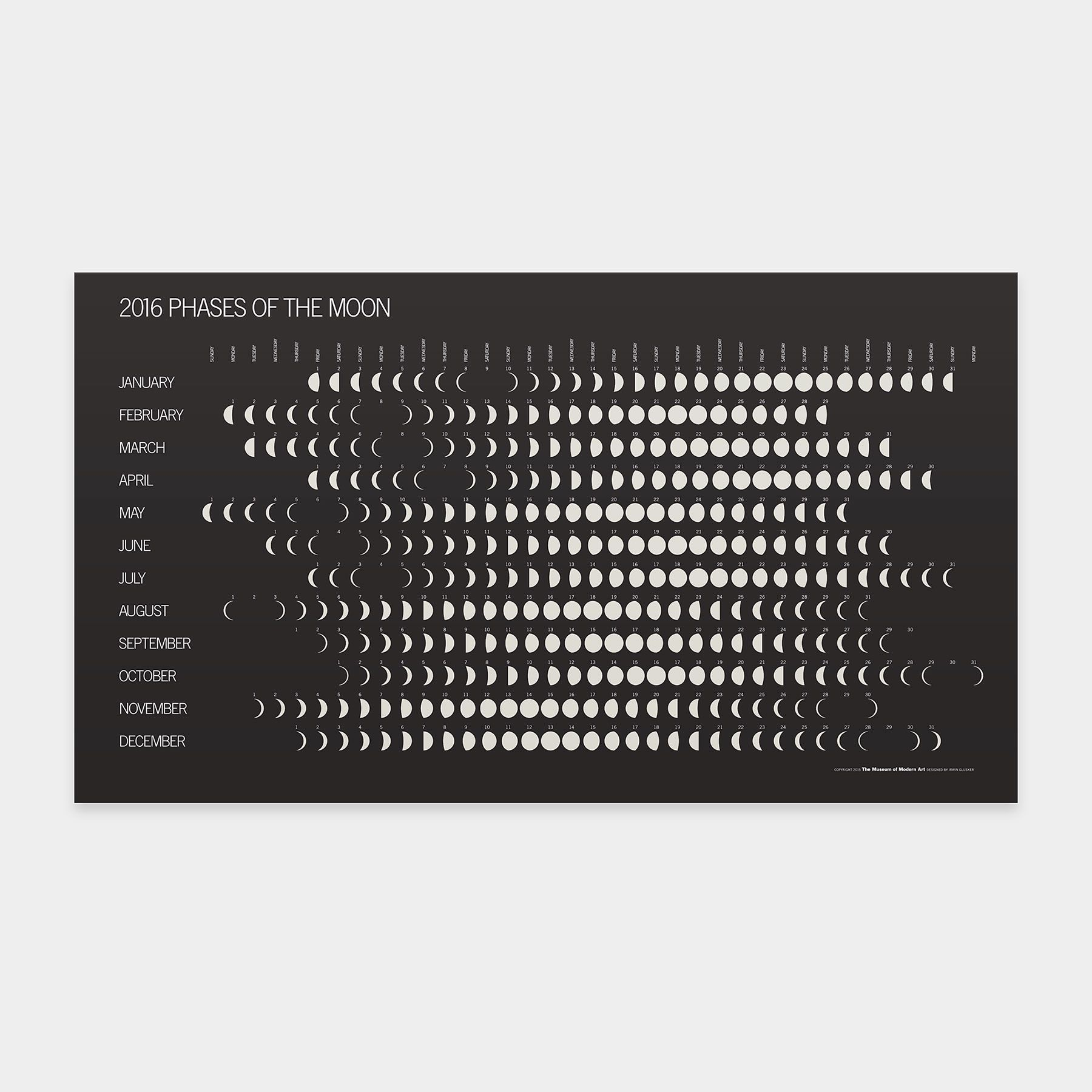 Calendar Typography Tips : Phases of the moon calendar by irwin glusker
