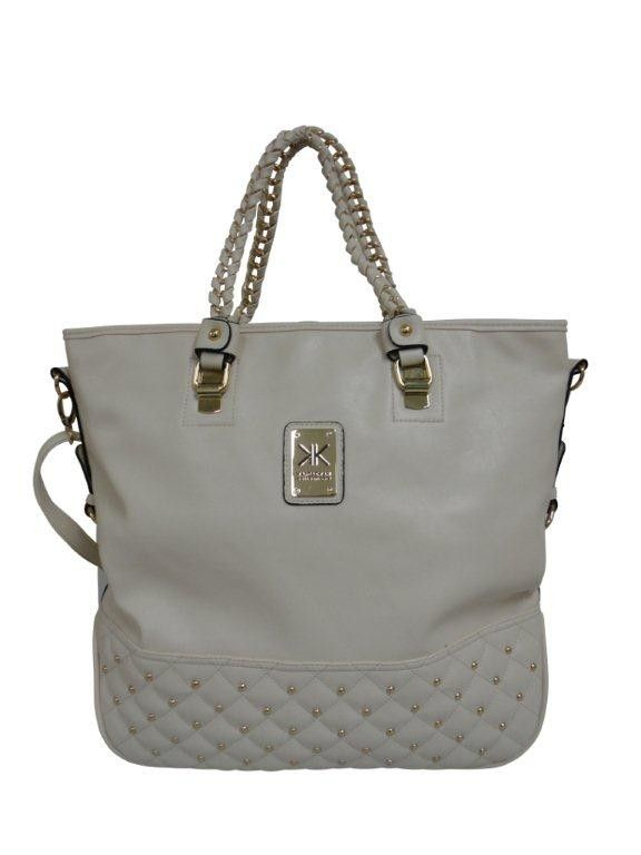 Kardashian Kollection Quilted Chain Tote Bag Beige