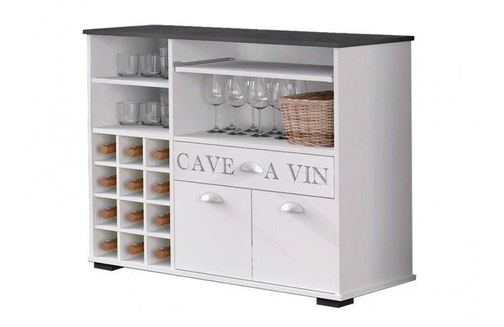 #Mueble #buffet botellero moderno color blanco. Un mueble auxiliar perfecto para incluir en para cocinas, salones o comedores.