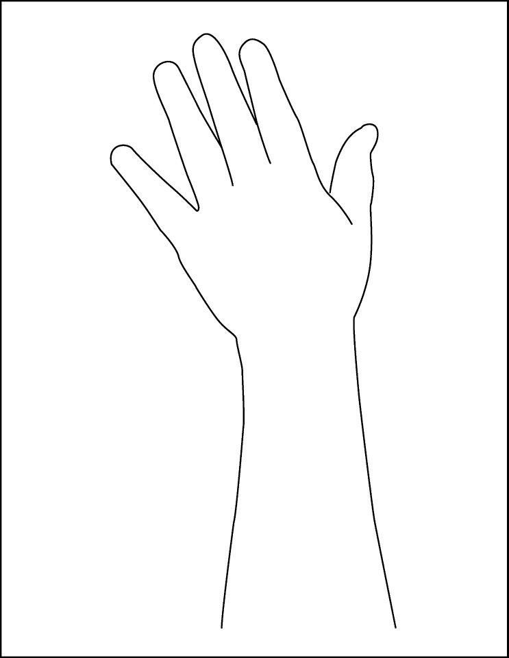 photo relating to Printable Handprint Template titled Arm Template - Hand and Arm Define Printable Hand Determine
