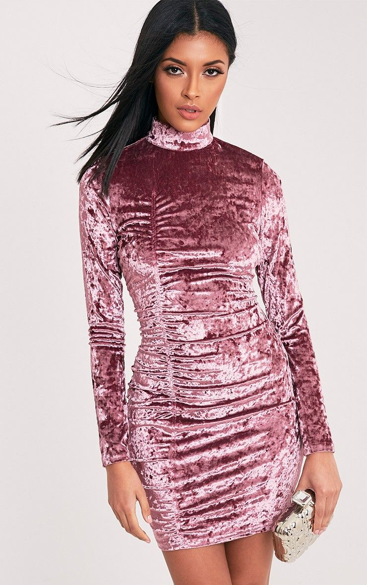 Lilli Dusty Pink Crushed Velvet High Neck Bodycon Dress Image 1 ...