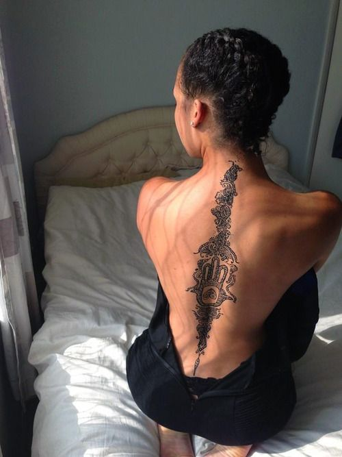 Dark Skinned And Tattoos Spine Tattoos Tattoos Back Tattoo