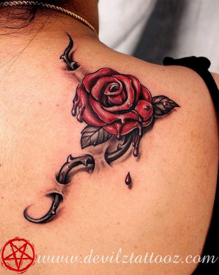 271860dcb3ba2 Rose thorn through skin. Rose thorn through skin Sang, Realistic Rose Tattoo,  3d ...