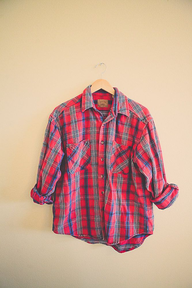 Plaid Red Blue Green Flannel  Men's Hipster Thick Cozy Northwest Seattle Style Preppy Size Men's Large L by 7CitiesVintage on Etsy