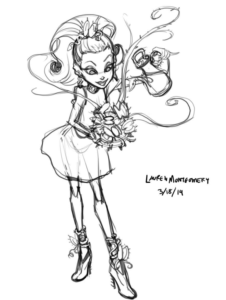 Venus Mcflytrap Box Art First Sketch By Lauren Montgomery Monster High Characters Monster High Monster High Art