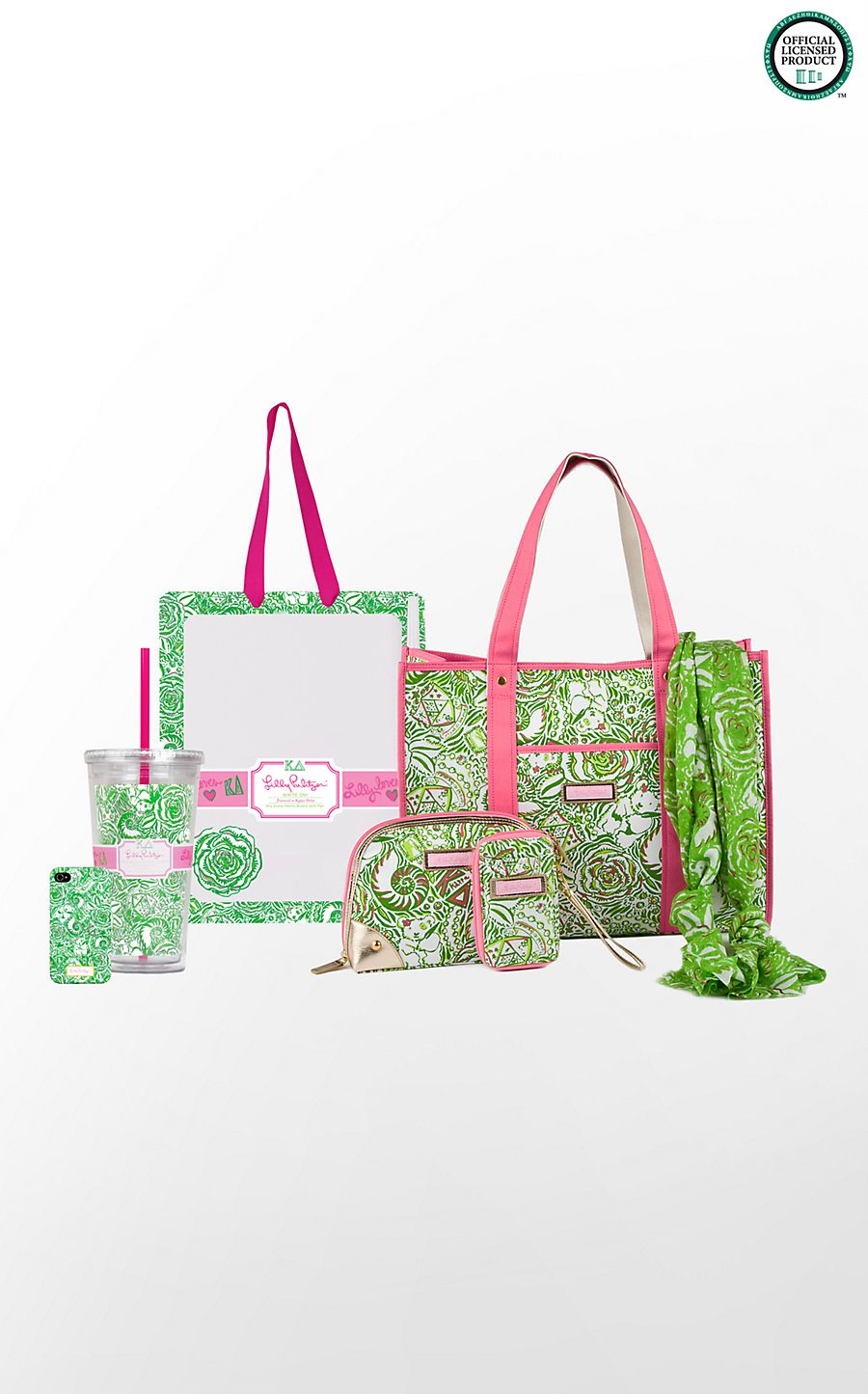 288b3a27f017a0 Kappa Delta Lilly Pulitzer Sorority Collection Makes travel a whole lot  more fun! I use the makeup bag for chargers.