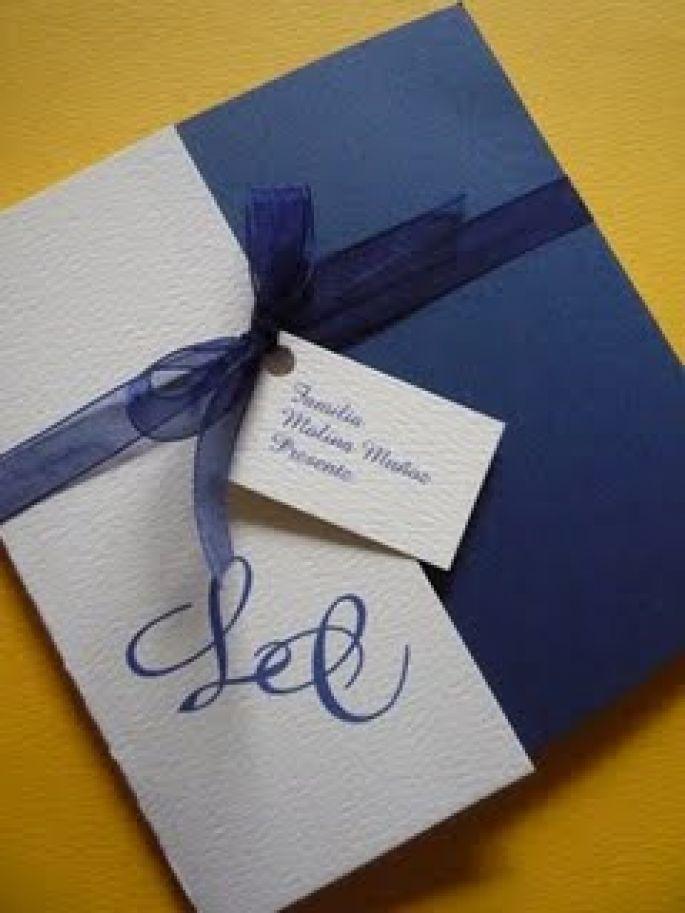 Invitación Para Boda Blanco Y Azul Tarjeta De Invitacion