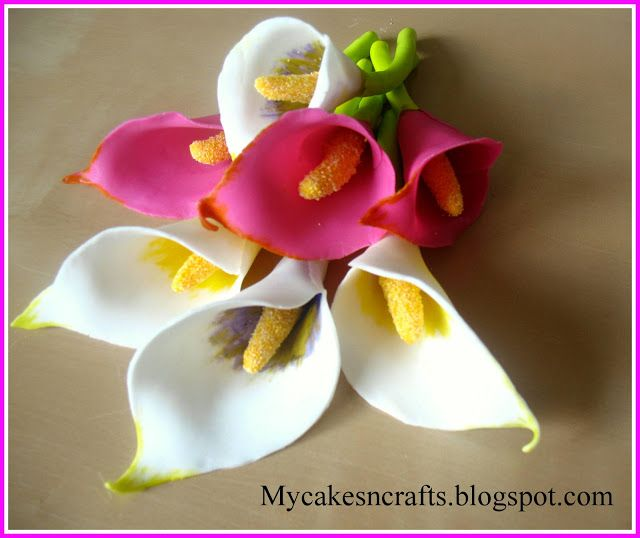 My Cakes N Crafts How To Make Fondant Gum Paste Calla Lily Sugar Flowers Tutorial Fondant Flower Tutorial Fondant Flowers