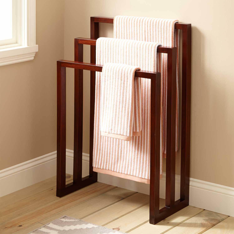 Hailey+Mahogany+Towel+Rack Towel rack bathroom, Rack