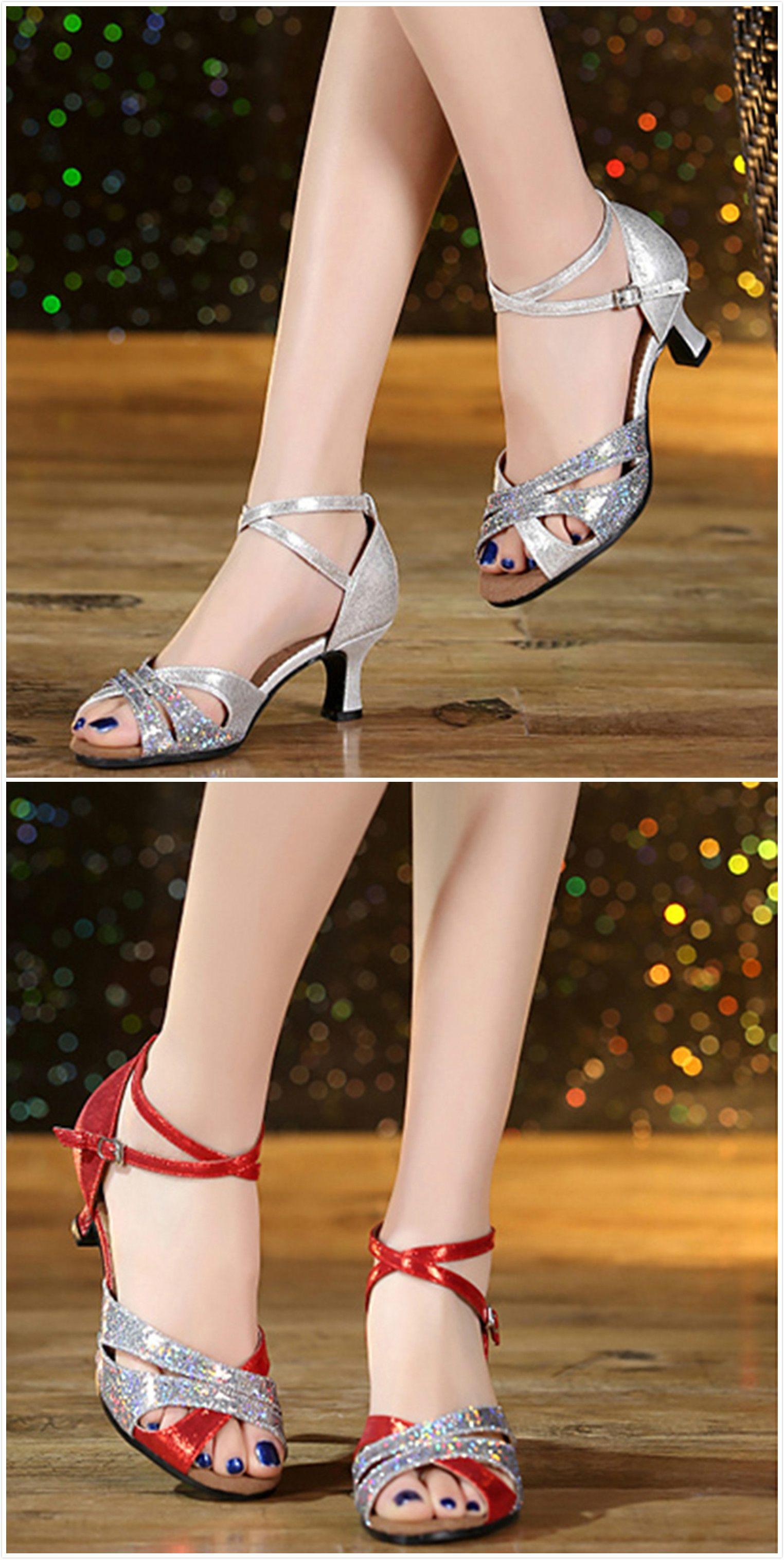e24f28fe81 Peep Toe Sequins Cross Strap Latin Dance Shoes - OASAP.com