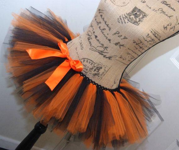 Halloween Athletic Stripe Orange & Black Race Running Tutu; Adult Women on Etsy, $30.00