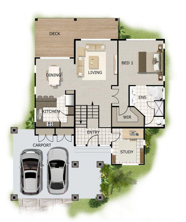 sloped land house design google search