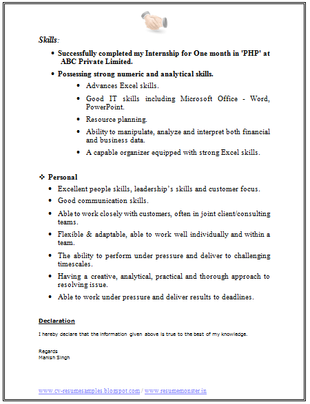 cv format for business analyst 2 - Resume I Hereby Declare