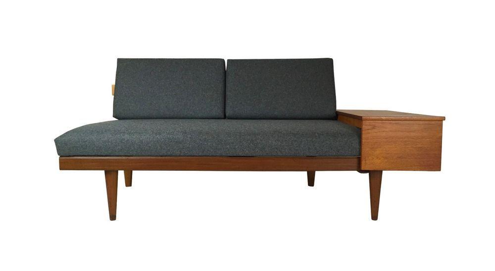 Danish Mid Century Modern Convertible Teak Sofa Bed, Side Table + Storage WOW  #DanishModern