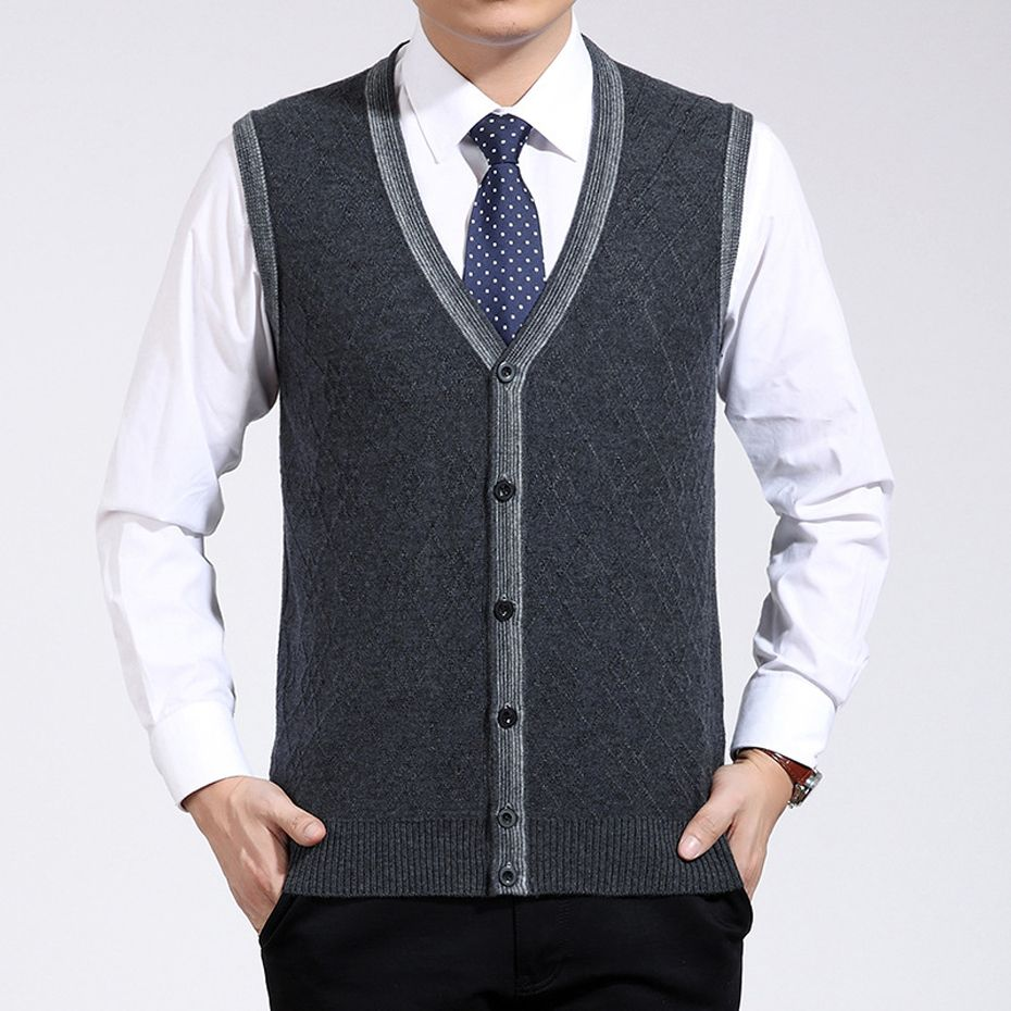 Men's Casual Wool Sweater Jacket Cardigan Sleeveless V Neck for ...