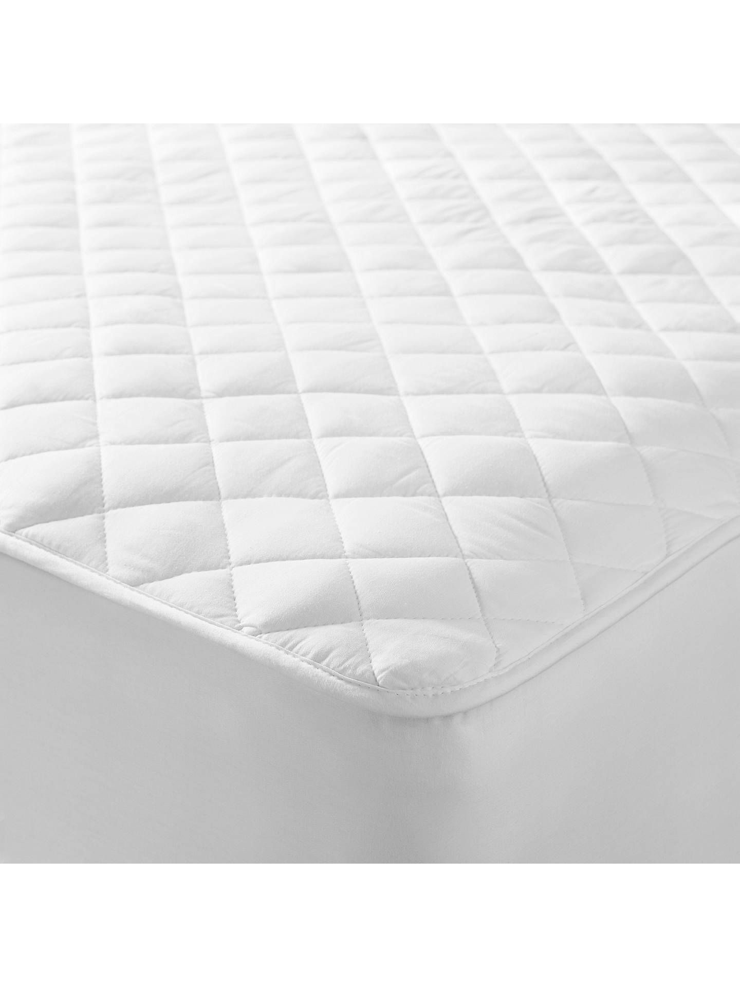 John Lewis Partners Natural Cotton Quilted Mattress Protector In 2020 Mattress Protector Mattress Cotton Quilts