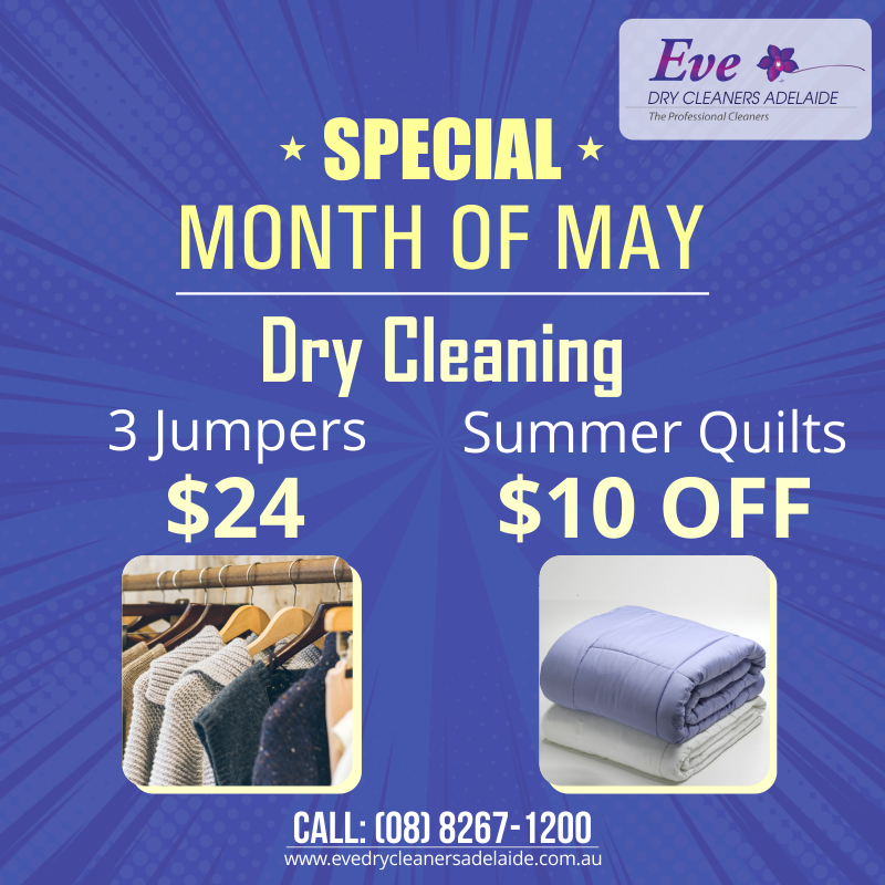 Special Month Of May 3 Jumpers 24 Summer Quilt 10 Off 08 8267 1200 Drycleanersadelaide Dr In 2020 Dry Cleaning Services Summer Quilts Dry Cleaning