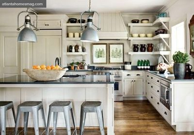 open shelf kitchen with exhaust hood - Google Search