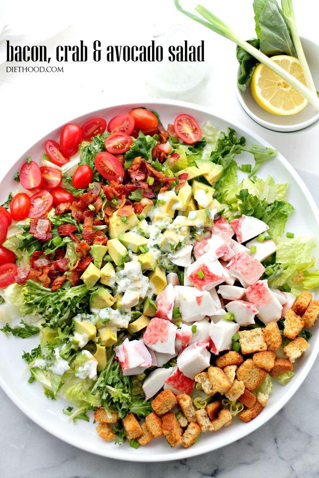 Bacon Crab and Avocado Salad with Green Onion Yogurt Salad Dressing