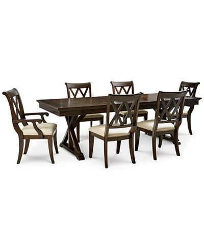 Furniture Baker Street Dining Furniture 7 Pc Set Dining Trestle Table 4 Side Chairs 2 Arm Chairs Reviews Furniture Macy S Dining Furniture Furniture Trestle Table