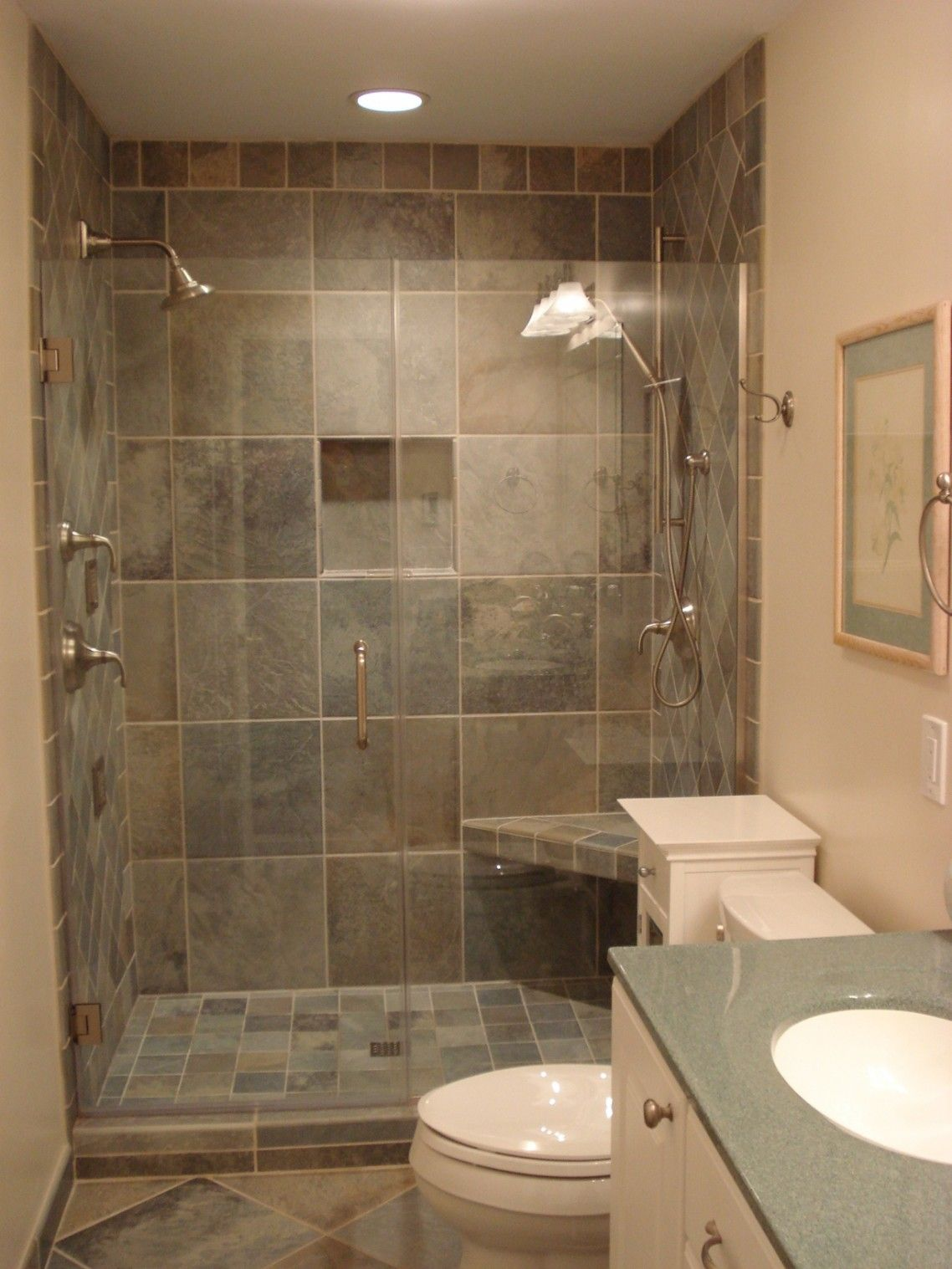 Bathroom Remodels With Showers Showerslatetileswalland - Diy bathroom shower flooring ideas