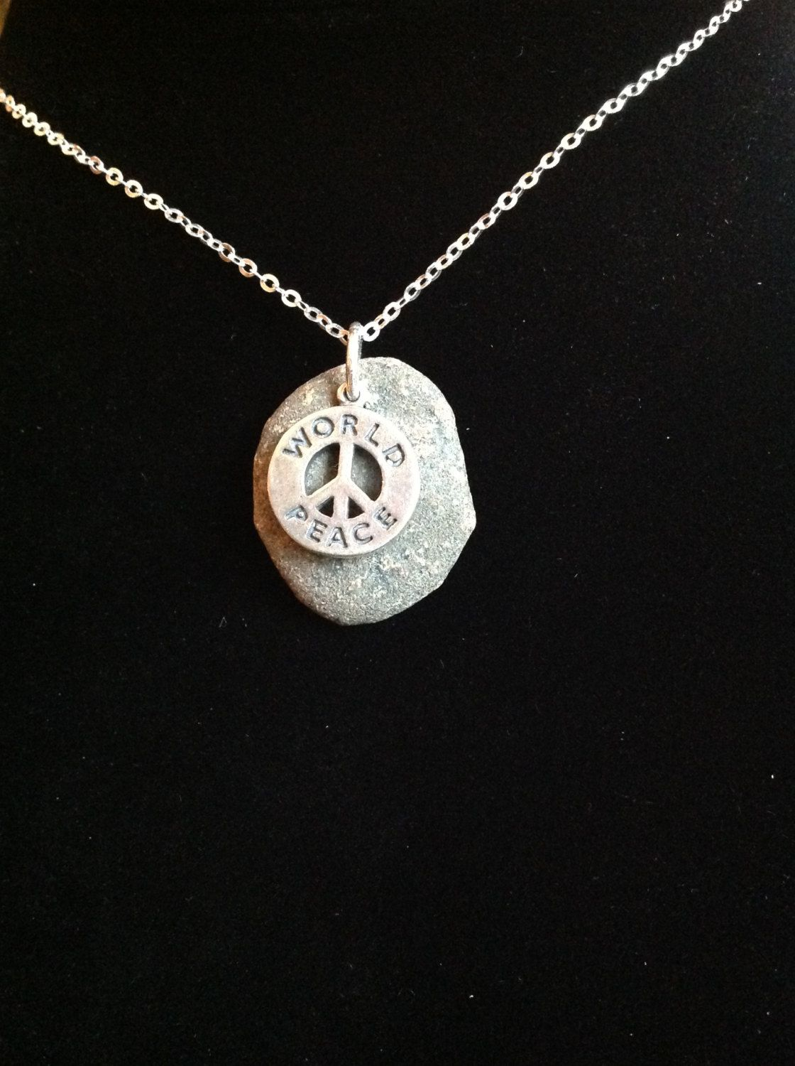 Antiqued sterling silver world peace necklace by stonedevotions on antiqued sterling silver world peace necklace by stonedevotions aloadofball Choice Image