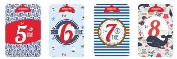 Birth gift – Card marine baby – cards steps – steps baby cards – cards steps step – Baby Shower – boy step card gift