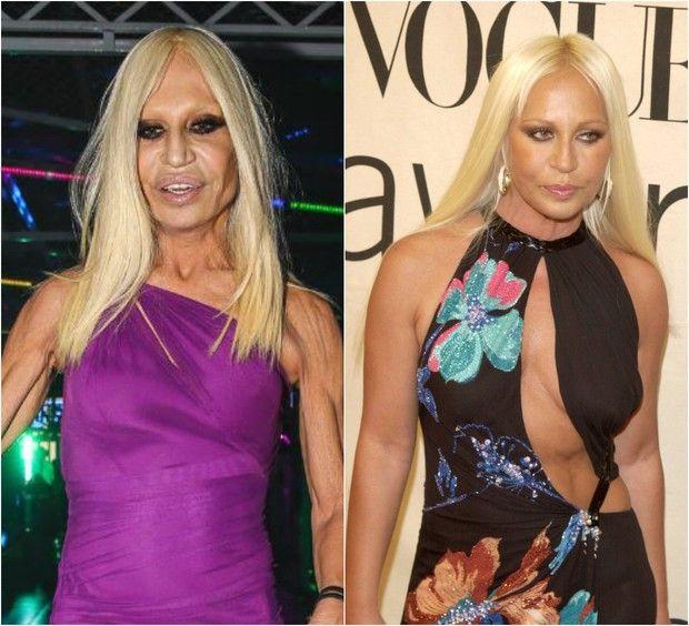 Dois momentos de Donatella Versace: estilista na SPFW em 2014; e durante coquetel na Itália em 2000 (Foto: Manuela Scarpa/Photo Rio News e Getty Images)