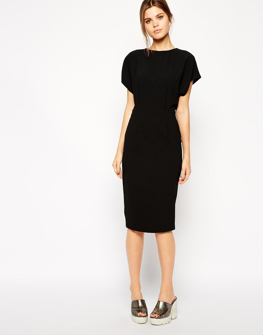 Image of asos pencil dress in crepe with cross back style