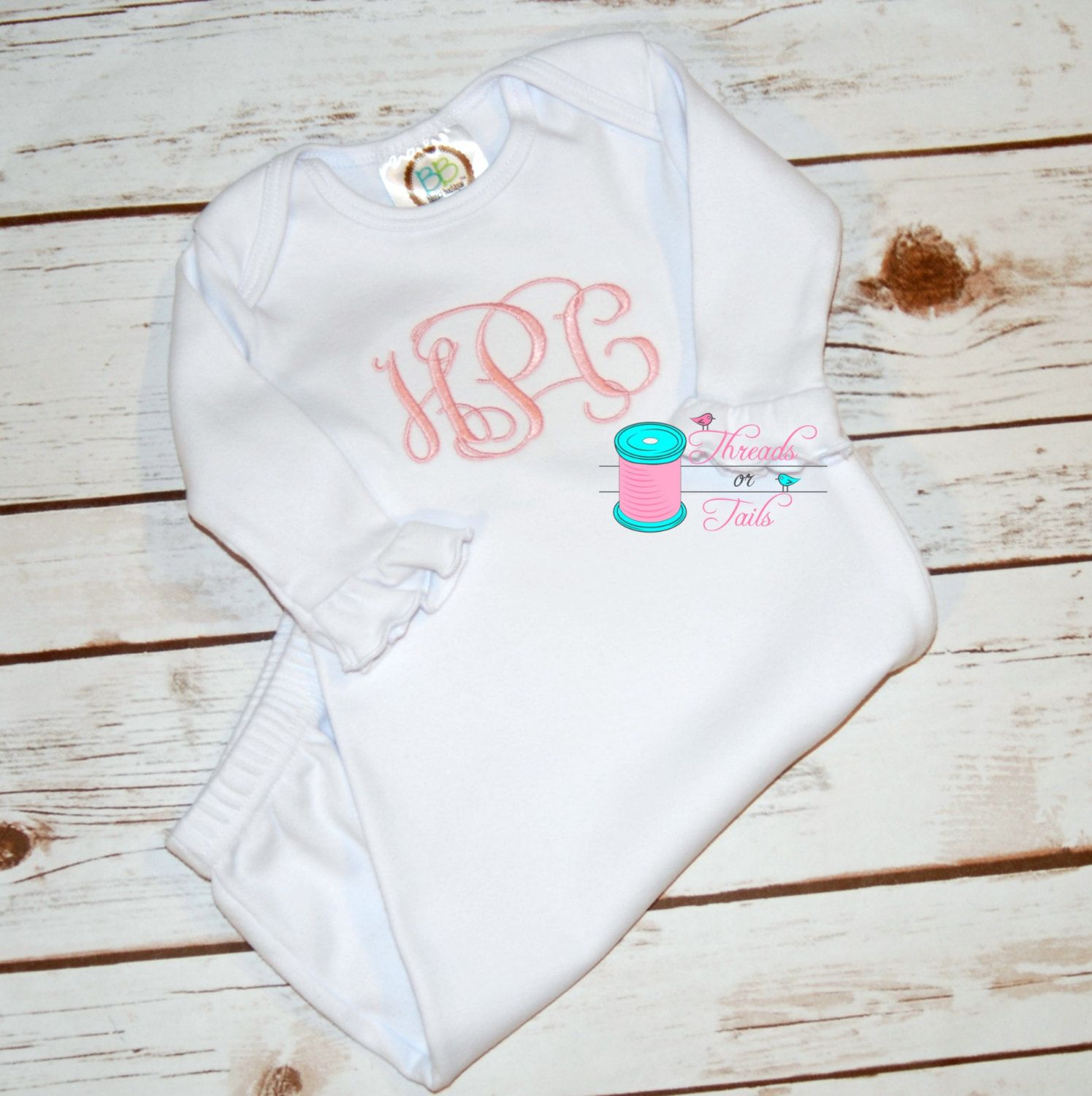 Monogrammed baby gown baby gown monogrammed baby gifts new to threadsortailsms on etsy monogrammed baby gown monogrammed bib monogrammed burp cloth monogrammed baby gifts monogrammed baby items personalized negle Gallery