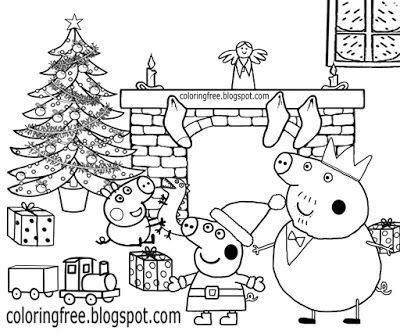 Xmas Tree Decorated Fire Place Happy Family Home Peppa Pig Christmas Coloring Pages Toy Train Gift