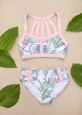 Coral Two Piece Swimsuit Girls Bathing Suits Bikinis Swimsuits