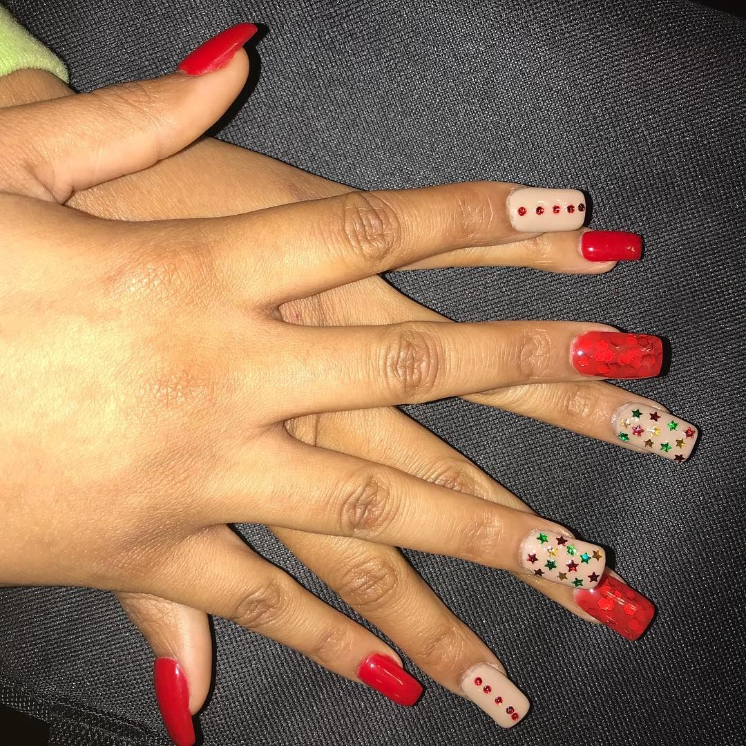 Hard Gel Christmas design i also created the red gel color with the