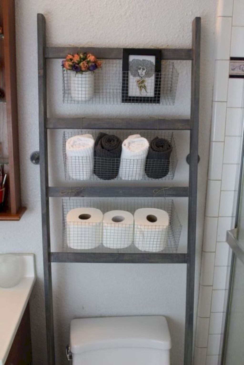 Pin By Hali Buhr On Camping And Rvs Diy Bathroom Storage Bathroom Storage Ladder Small Bathroom Shelves