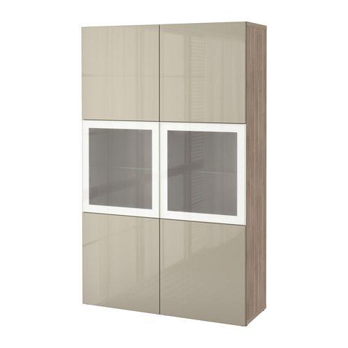 BESTÅ Storage combination w/glass doors - walnut effect light gray/Selsviken high gloss/beige frosted glass - IKEA