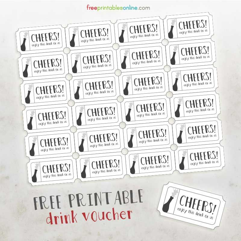 Cheers Free Printable Drink Vouchers - Free Printables Online - printable ticket template free