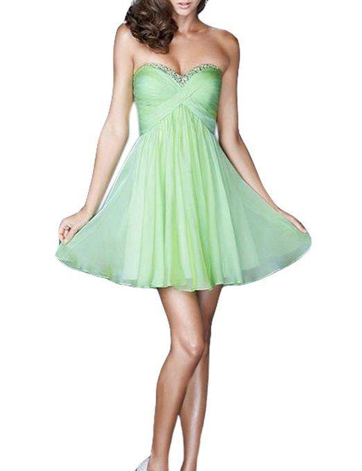 5bb3f160daf Amazon.com  LovingDress Women s Homecoming Dresses Sweetheart A Line  Chiffon Mini Dresses  Clothing