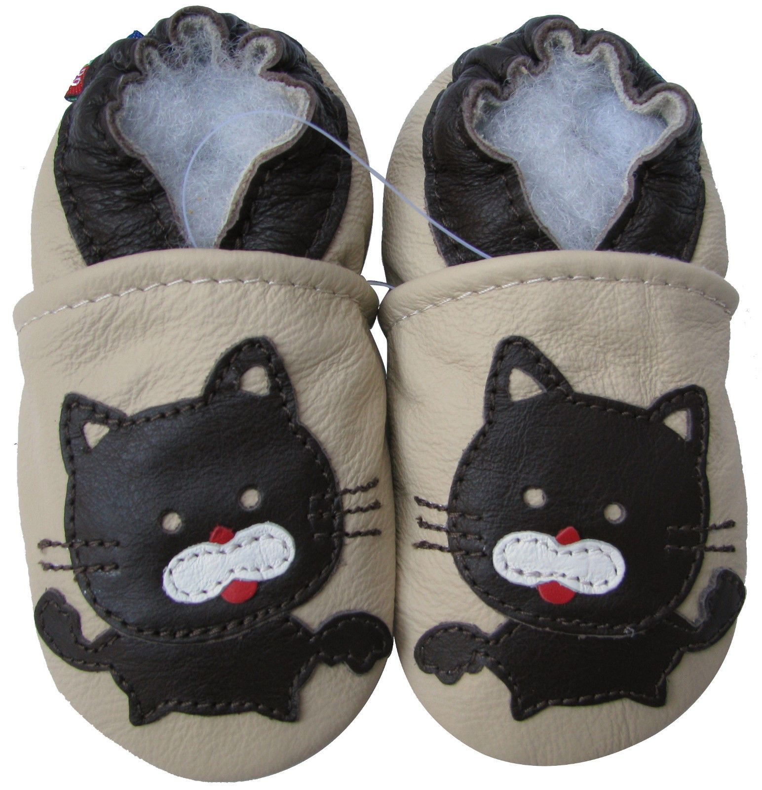 Carozoo Baby boy Soft Sole Leather Infant Toddler Kids Shoes Black Cat Cream