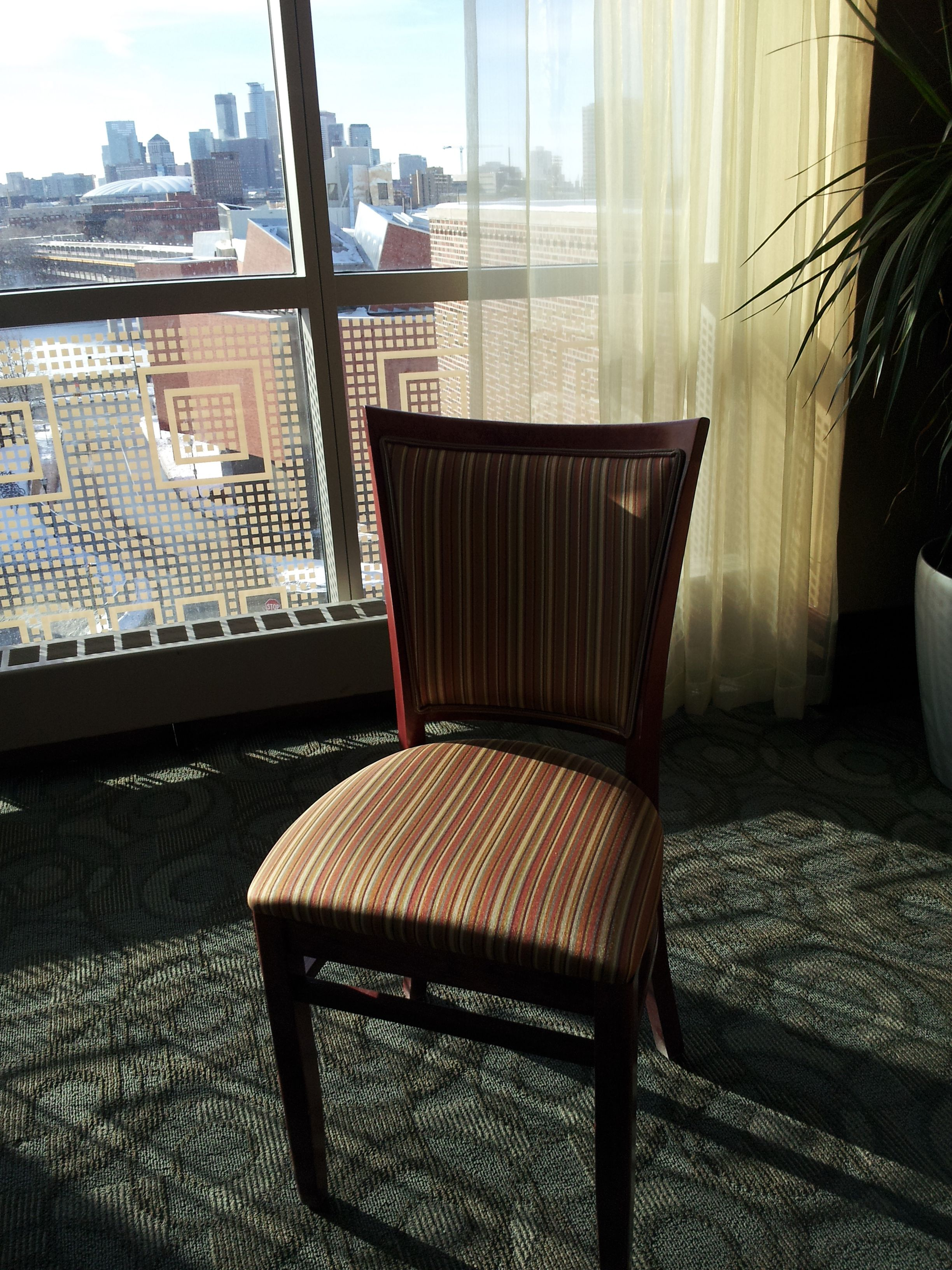 I love the upholstery and style of the chairs in the West Wing of the Campus Club.